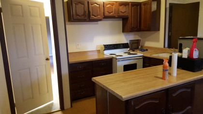"""After a massive clean up and """"defunking"""" the downstairs kitchen is not so bad. This was a disaster and took quite a bit of Clorox spray cleaner and a few sets of rubber gloves."""