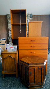 A big pile of dressers and end tables that was donated to the Salvation Army. The Damnation Navy never even got back to me...
